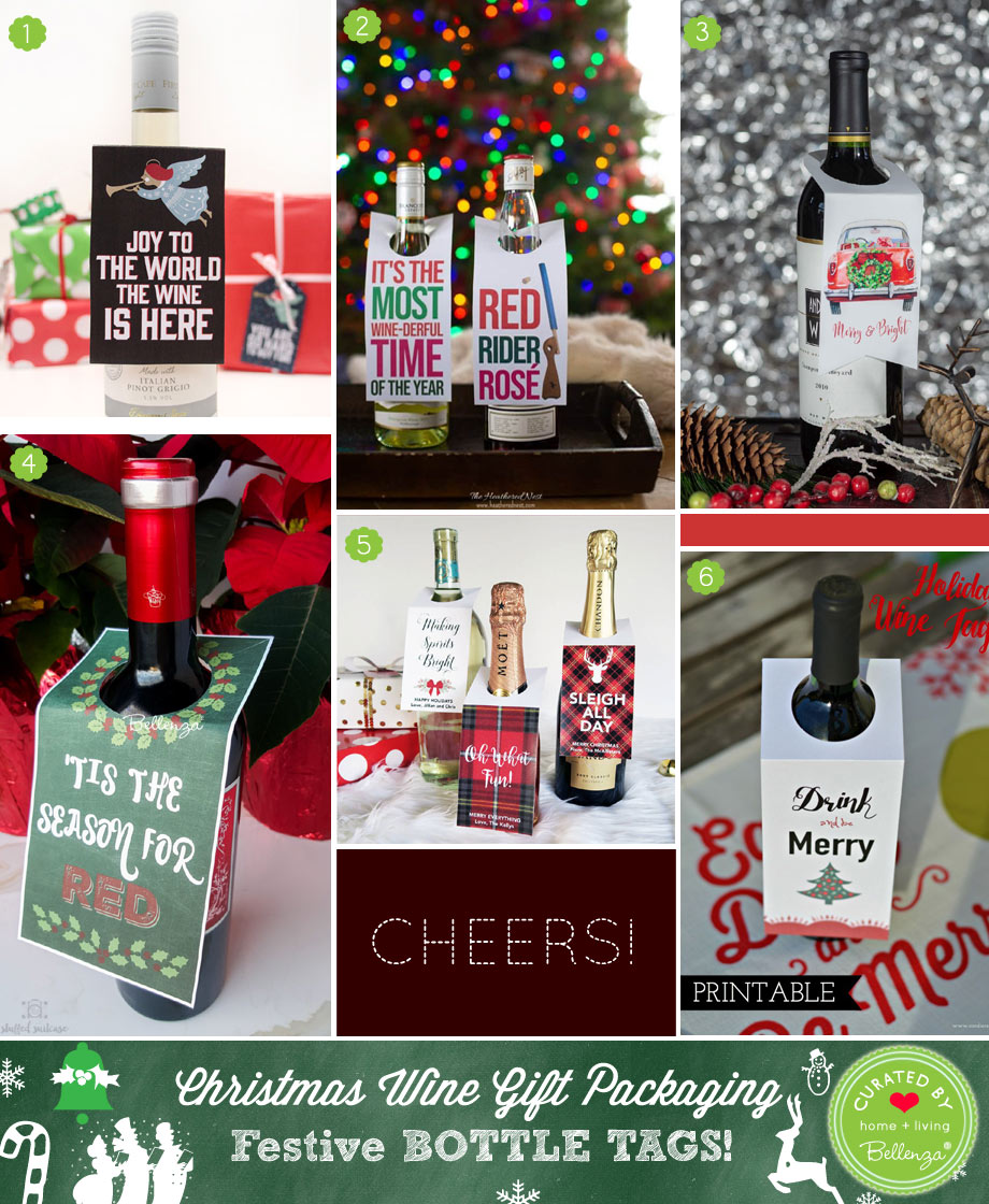 Collar-type Wine Bottle Tags for Christmas