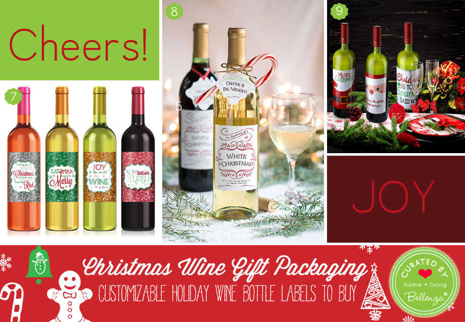 Holiday wine bottle label stickers