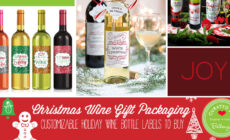 Christmas wine labels colorful and pretty
