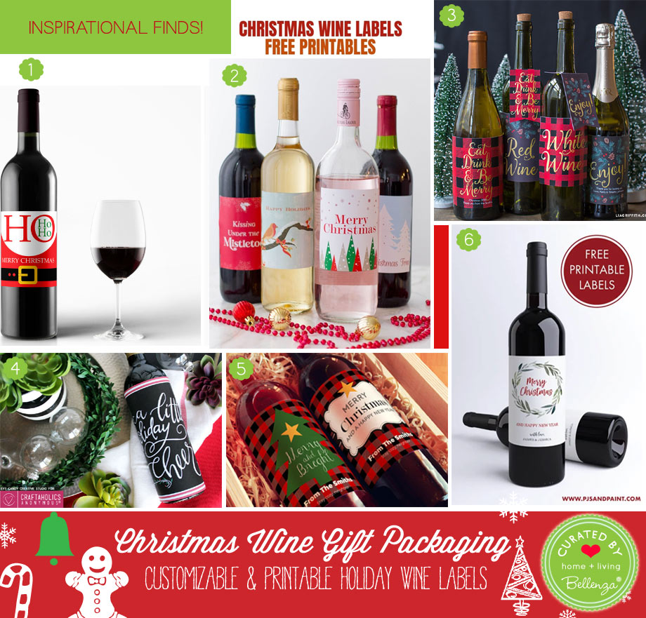 Christmas wine labels to print at home