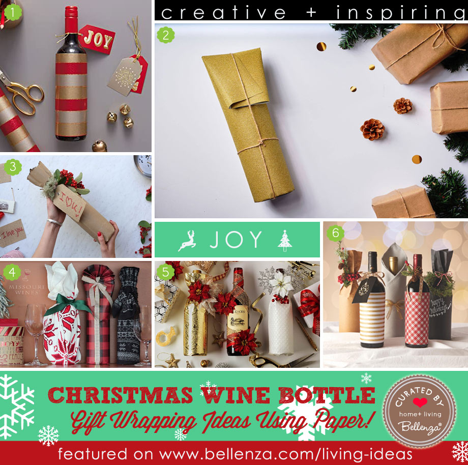 How to Wrap Christmas Wine Bottle Gifts with Paper