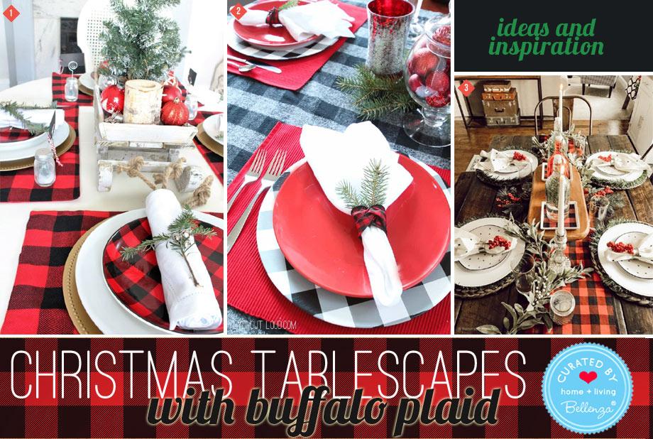 Buffalo plaid holiday tablescapes