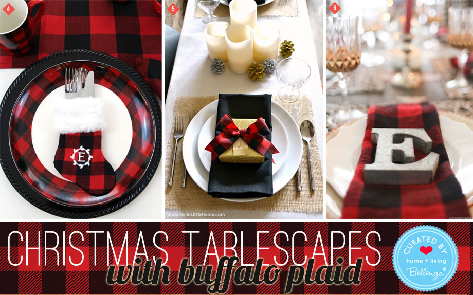 Red and black buffalo plaid Christmas table decorations