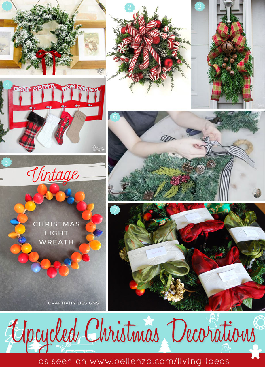 Repurposing old holiday garlands, wreaths, Christmas trees, stockings, string lights and bulbs