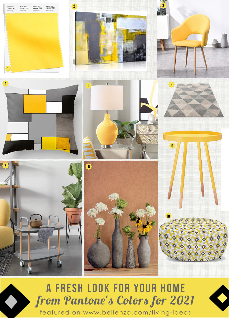 Pantone®'s 2021 palette of grey and yellow ideas for decorating your home