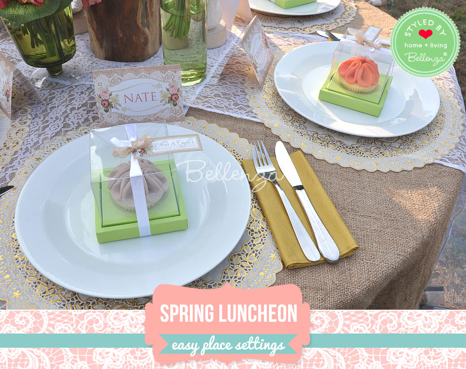 Vintage country place setting for spring luncheon