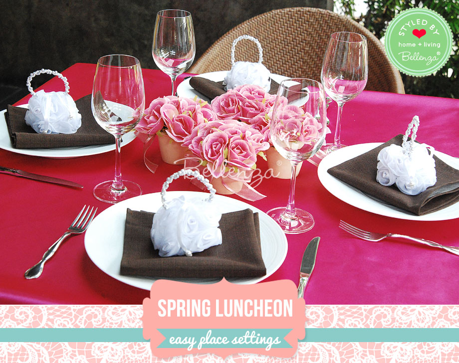 Bright spring place settings for brunch