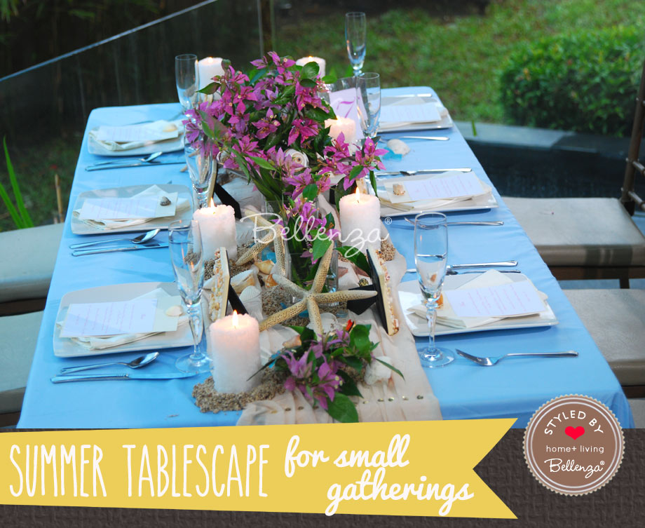 Palm Beach blue tablescape for small dinner