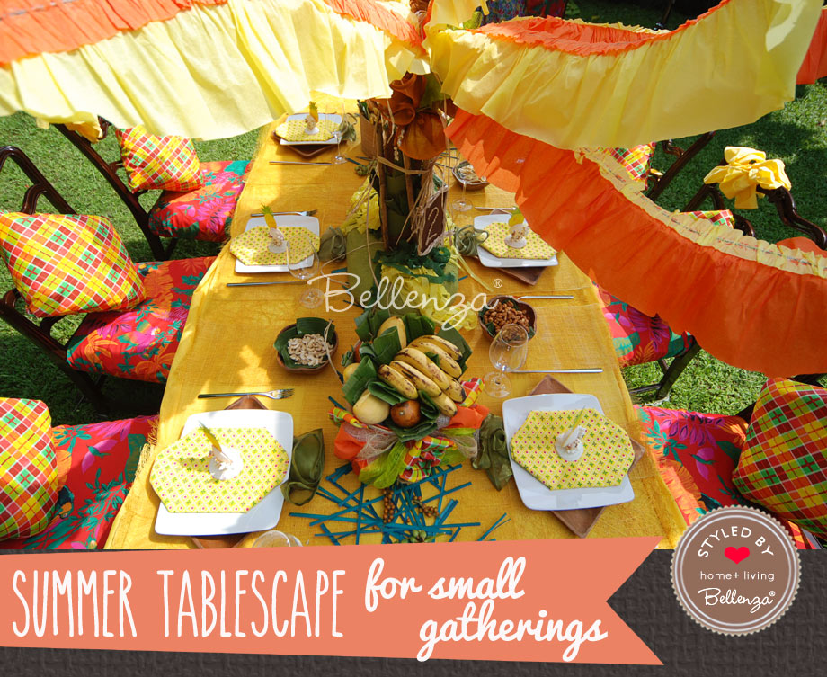 Colorful Caribbean tablesetting for small party