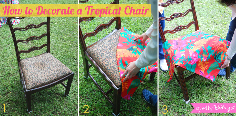 Tropical Party Chair Fabric Bandana in Red Tropical Print
