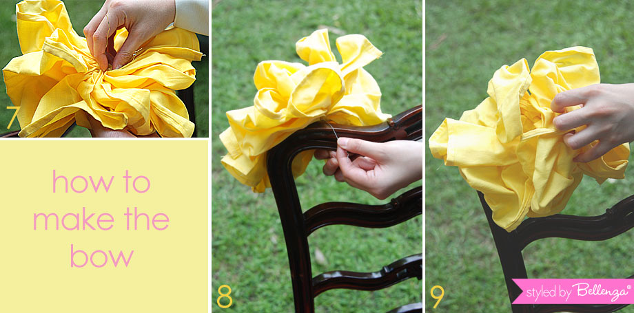 Place the yellow bow fabric on the side of the chair.