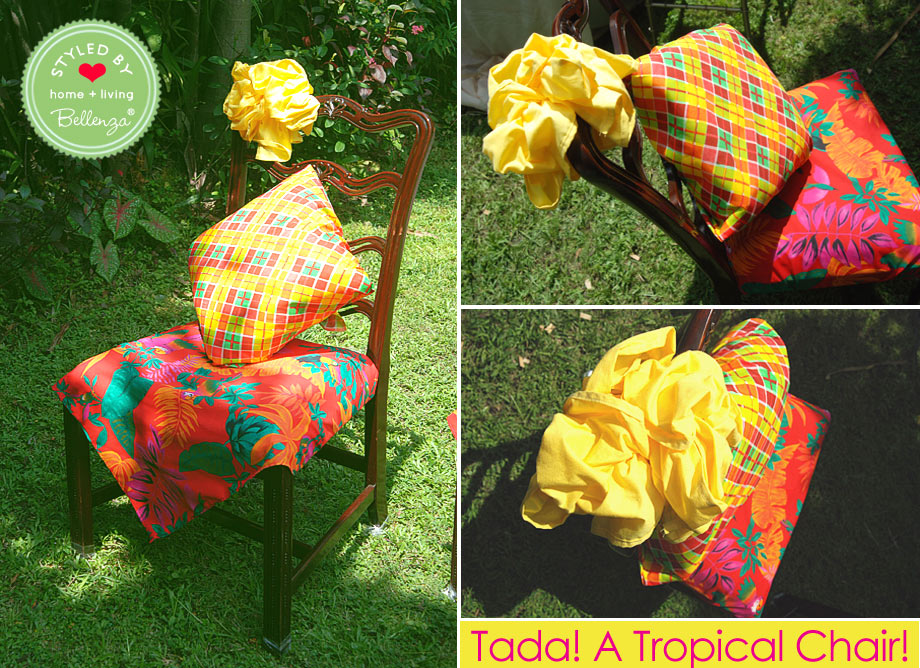 Finished tropical decorated party chair.