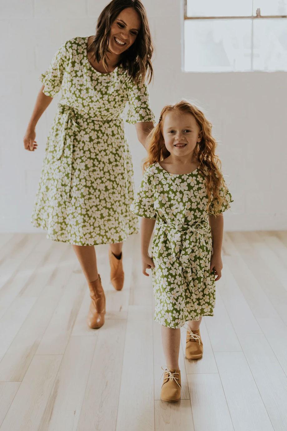 Green floral dresses