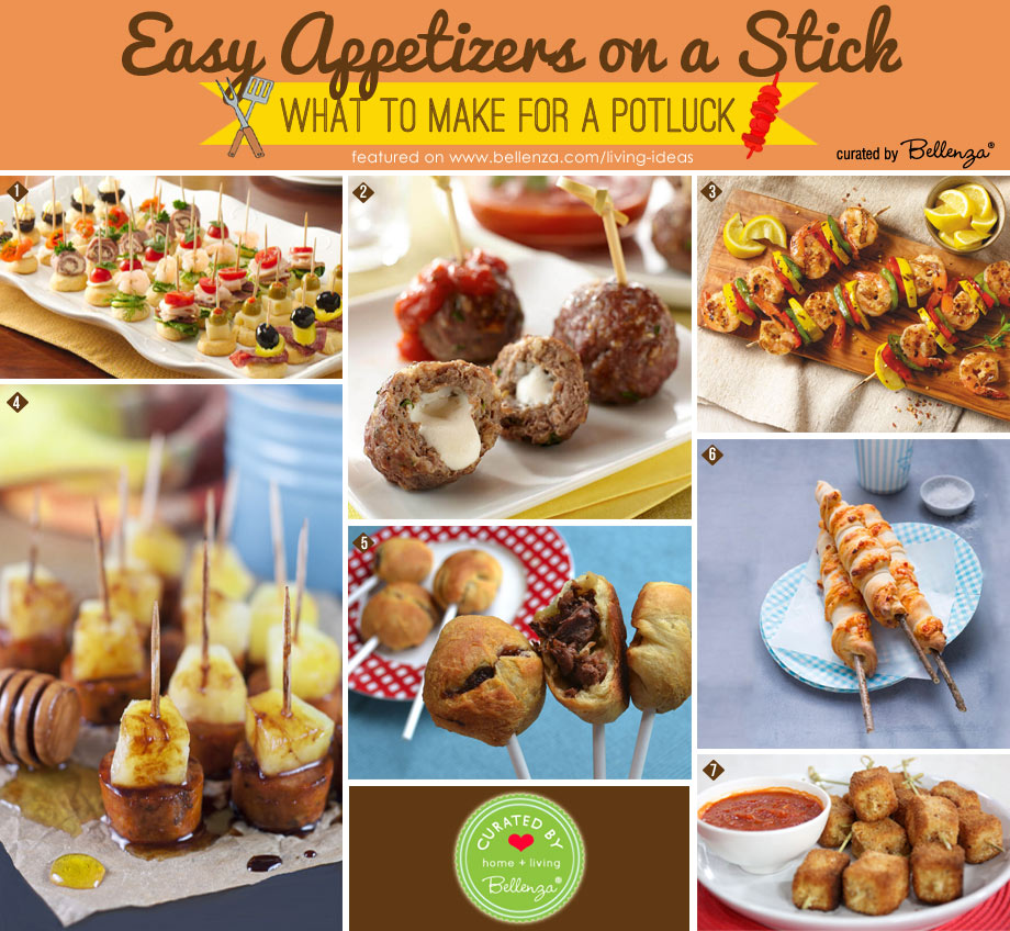 Easy appetizers on a stick to make for a potluck party