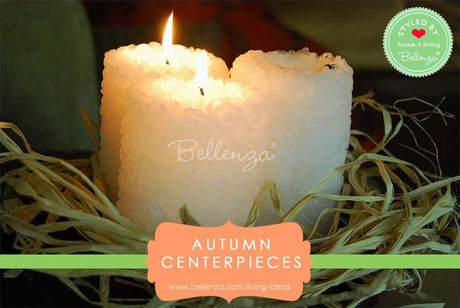 Rustic straw and raffia candle centerpieces for fall table decor.