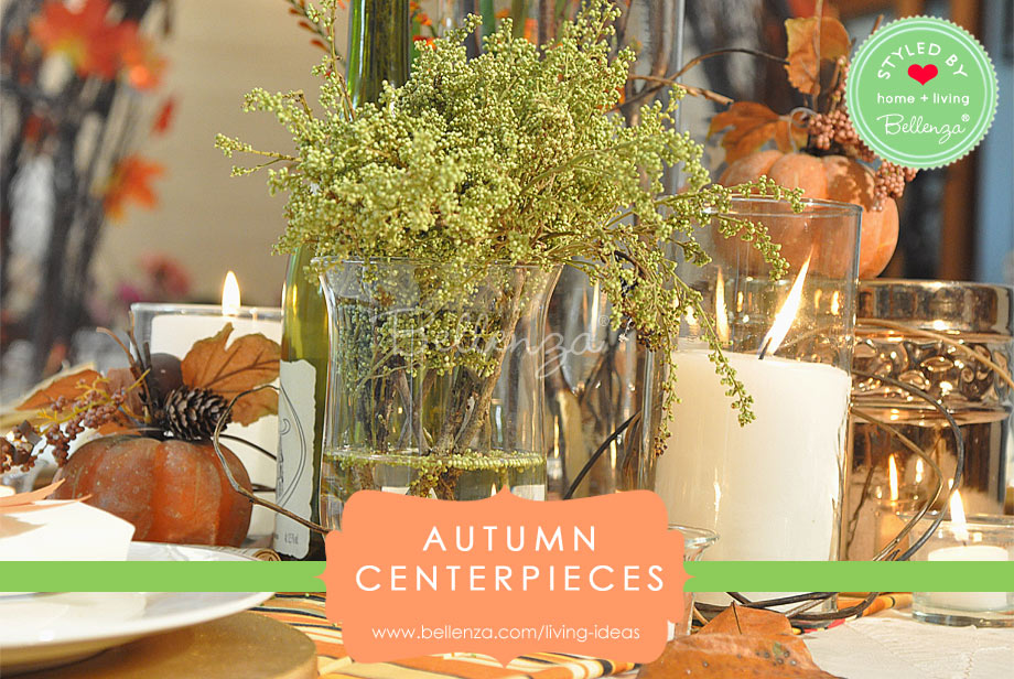 Fall foliage and other organic elements for autumn glass centerpieces.