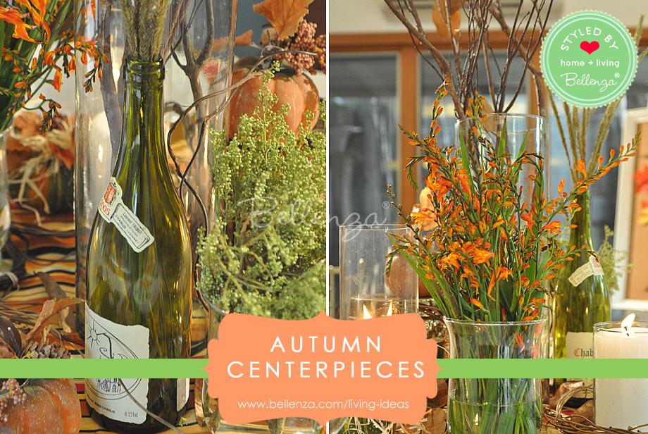 wine bottle grouping autumn table centerpieces