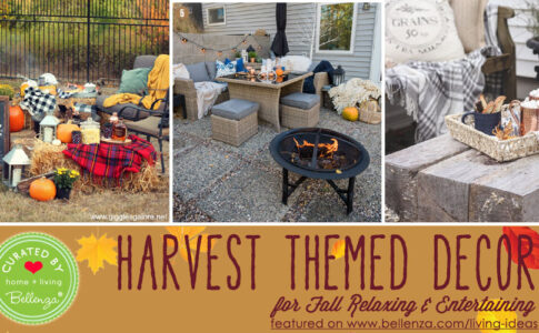Fall harvest themed backyard decor
