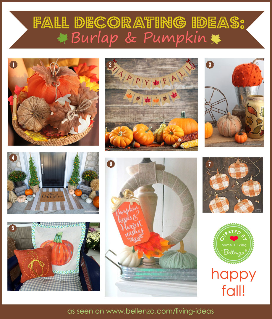 Fall pumpkin and burlap decorations for the home