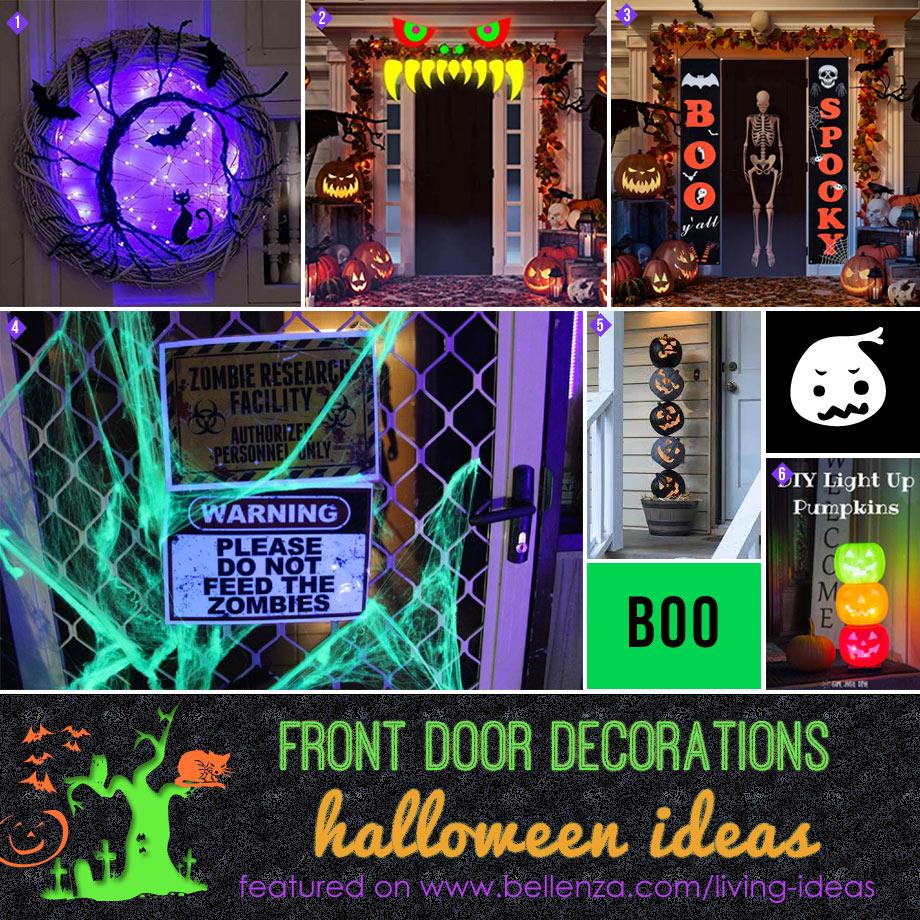 Front door Halloween glow in the dark decor