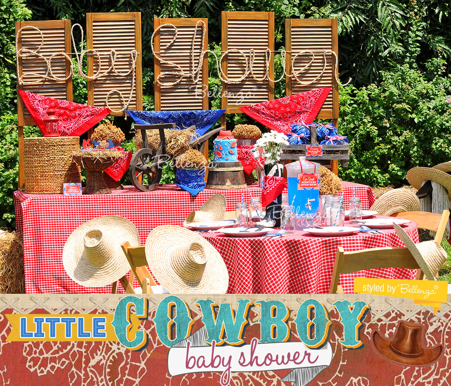 Cowboy dessert table baby shower