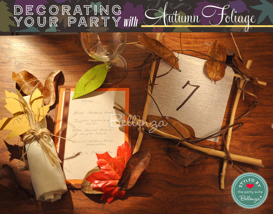 Autumn twigs and leaves as decorations for your home parties.