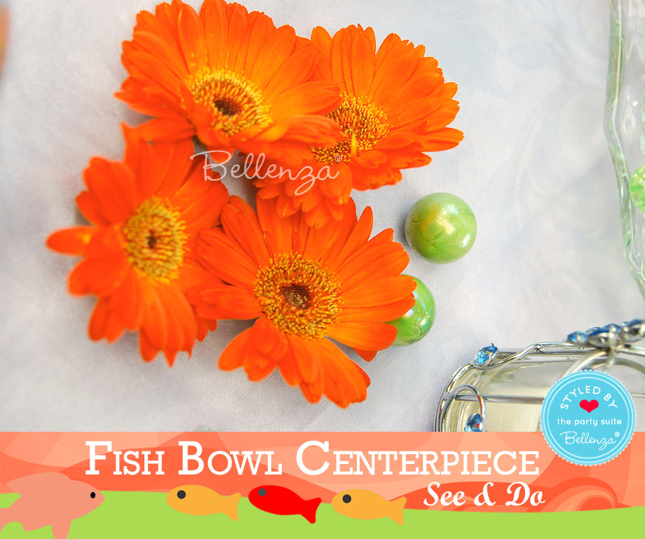 Fishbowl Centerpiece Flower Accents in Orange