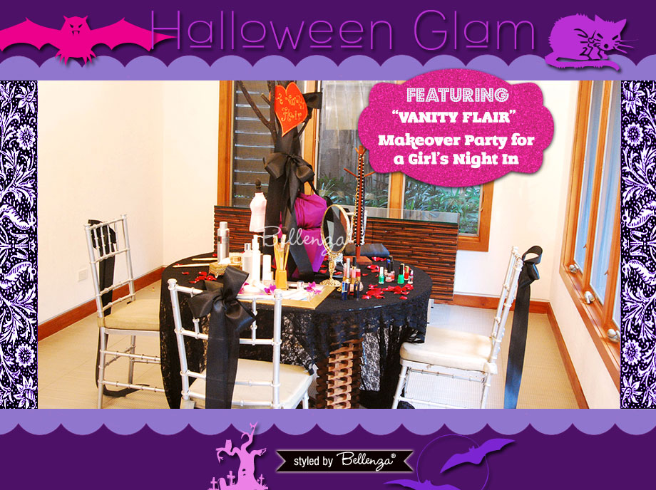 A Halloween Glam Makeover Party Styled Shoot by Bellenza. A Fun-Filled Night for a Girl's Night In.