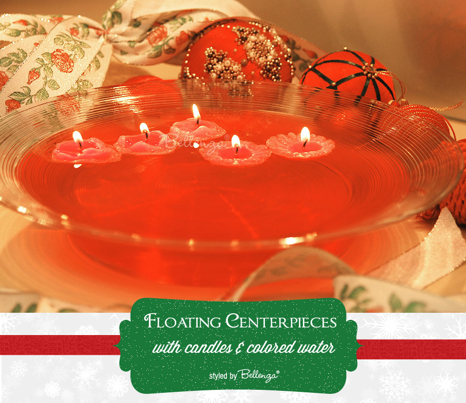 Red floating centerpieces for the holidays by Bellenza