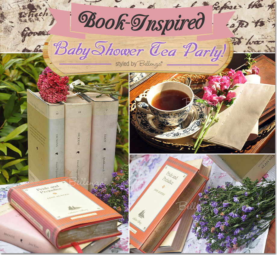 Baby shower tea party with books as decor