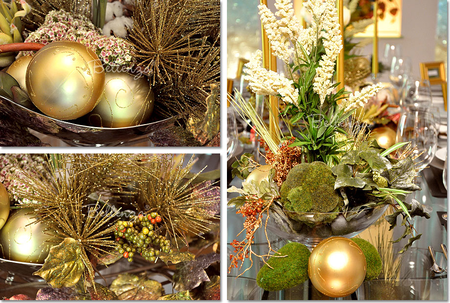 Gold and glittery Christmas balls nestled among the centerpiece elements bring in the spirit of the season.