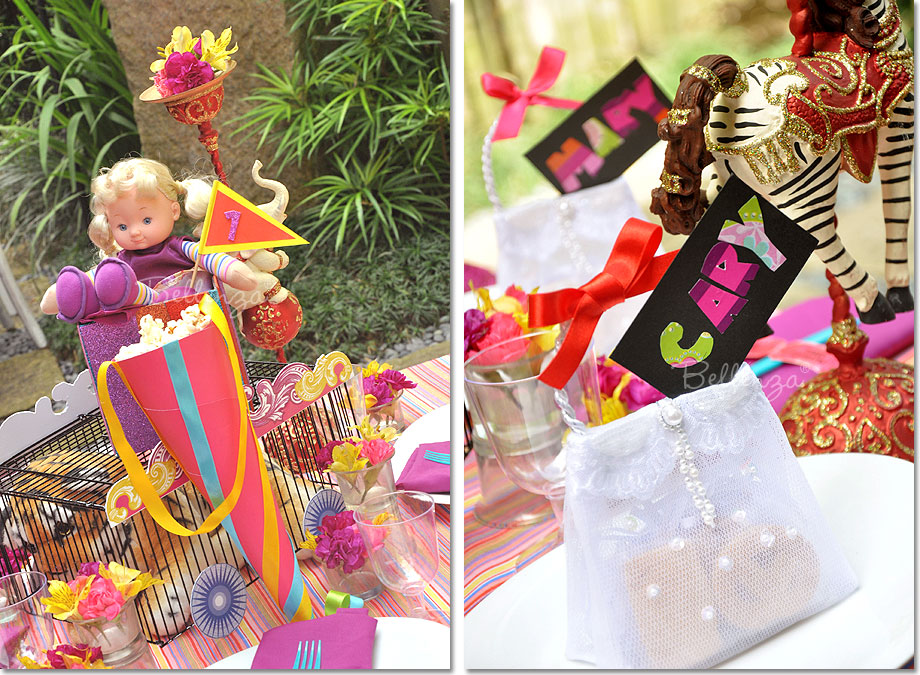Circus themed centerpiece and place settings.