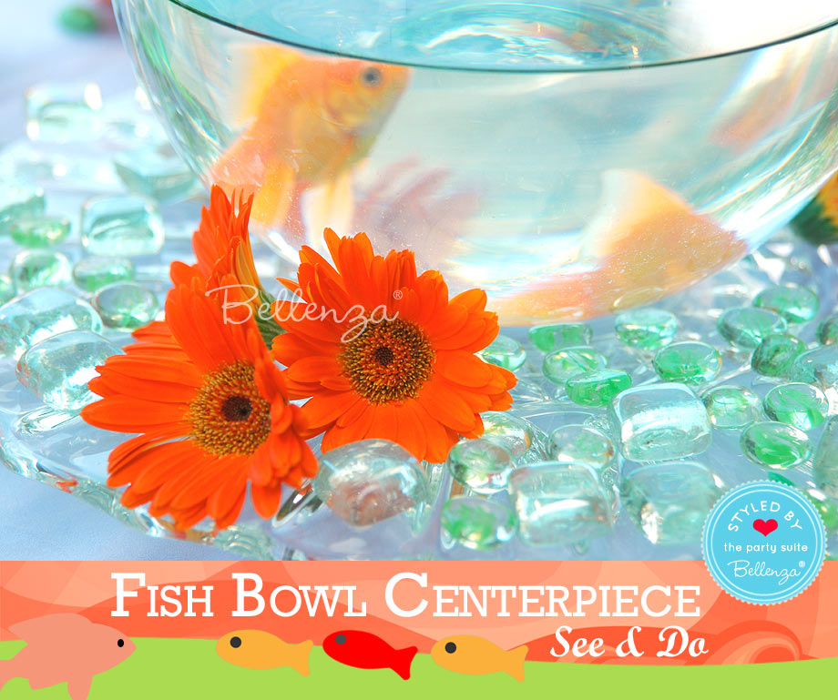 Floating fish with gerbera daisy heads.