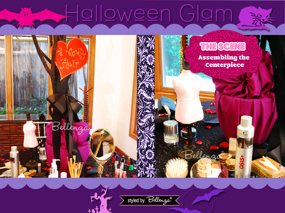 Creating the Makeup Table's Centerpiece for a Halloween Glam Makeover Party Styled Shoot by Bellenza.