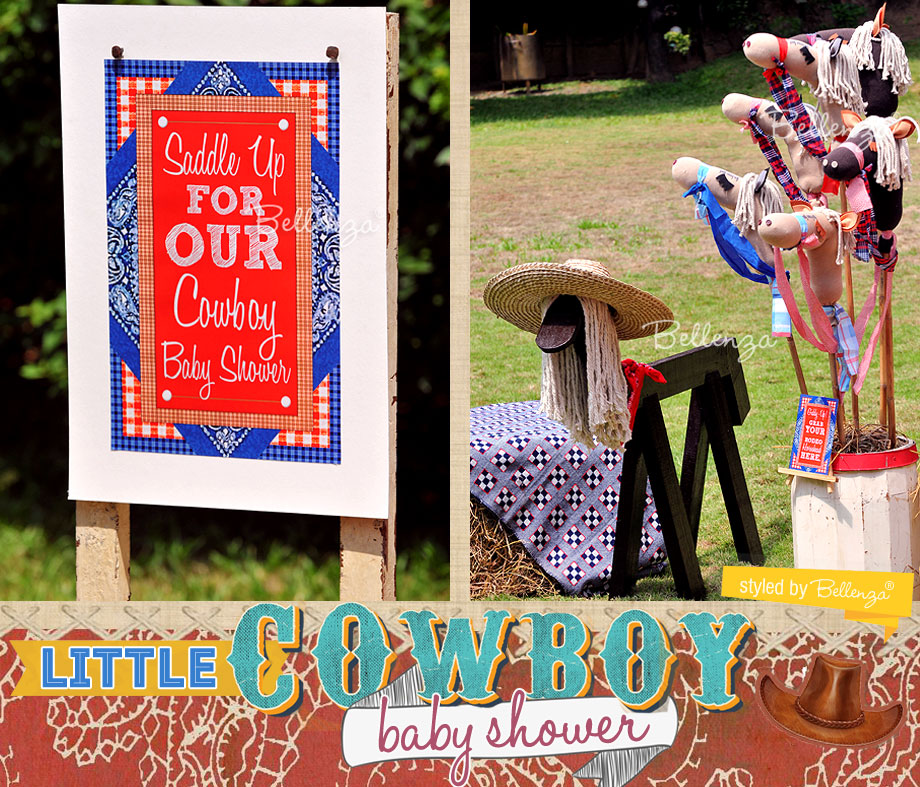 Pony stick heads as part of a Cowboy dessert table baby shower!