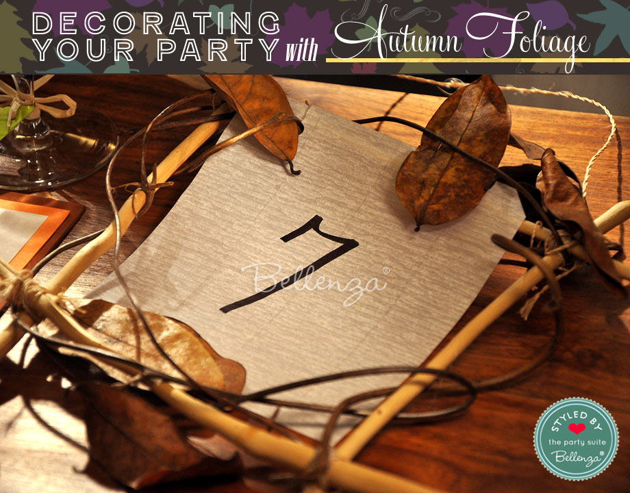 Twig table numbers with fall foliage.