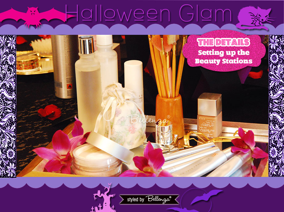 Assembling the Beauty Stations! A Halloween Glam Makeover Party Styled Shoot by Bellenza.