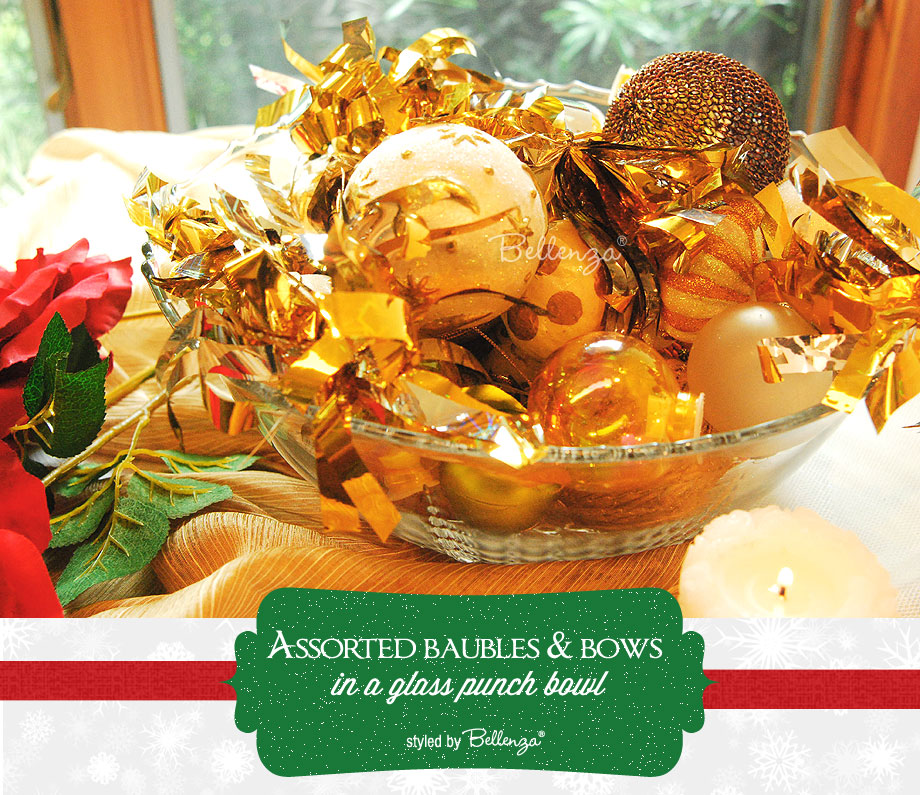 Assorted Baubles and Bows as Christmas Centerpieces by Bellenza