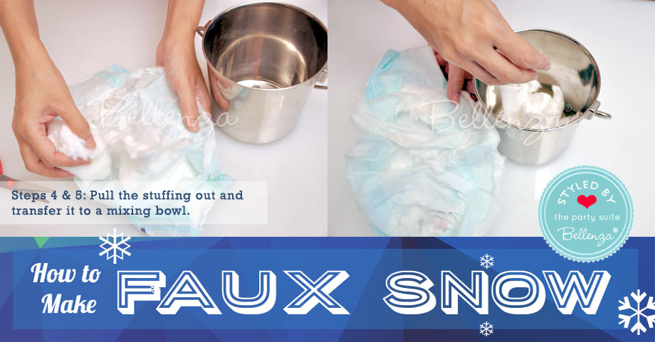 Pull the stuffing out and transfer it to a mixing bowl. // Faux Snow by Bellenza.