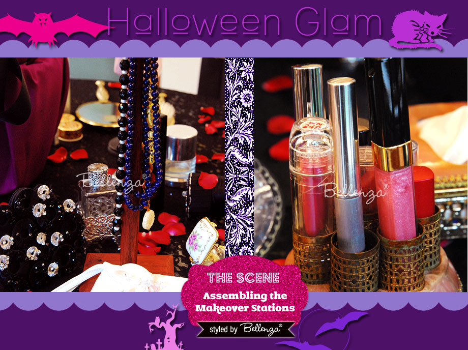 Vintage beauty accessories and supplies. A Halloween Glam Makeover Party Styled Shoot by Bellenza.