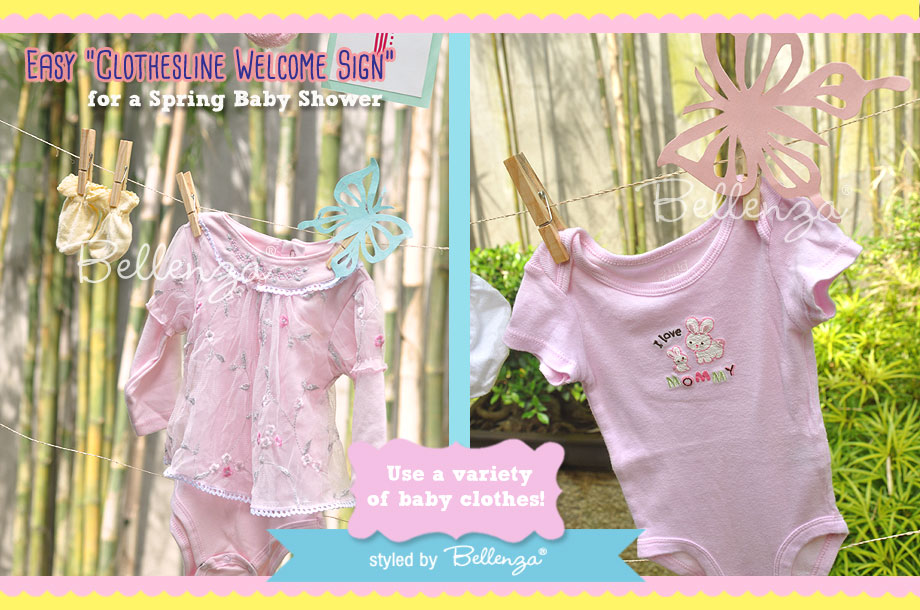 Clothespins, letter cutouts, baby clothes and accessories