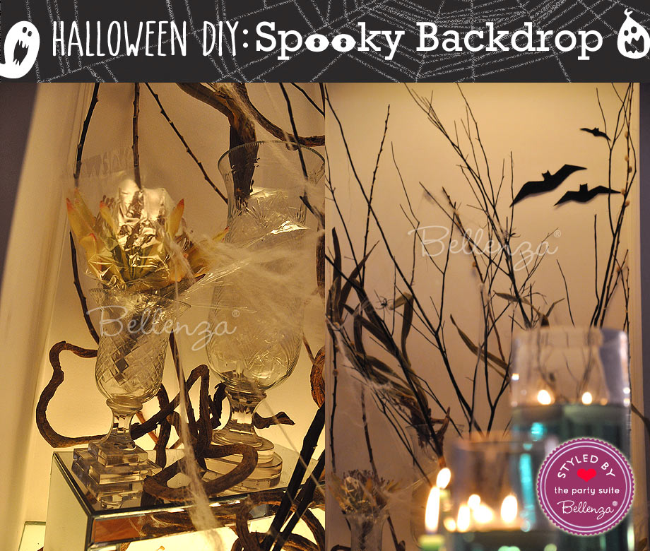 Hurricane lamps on Halloween Entryway