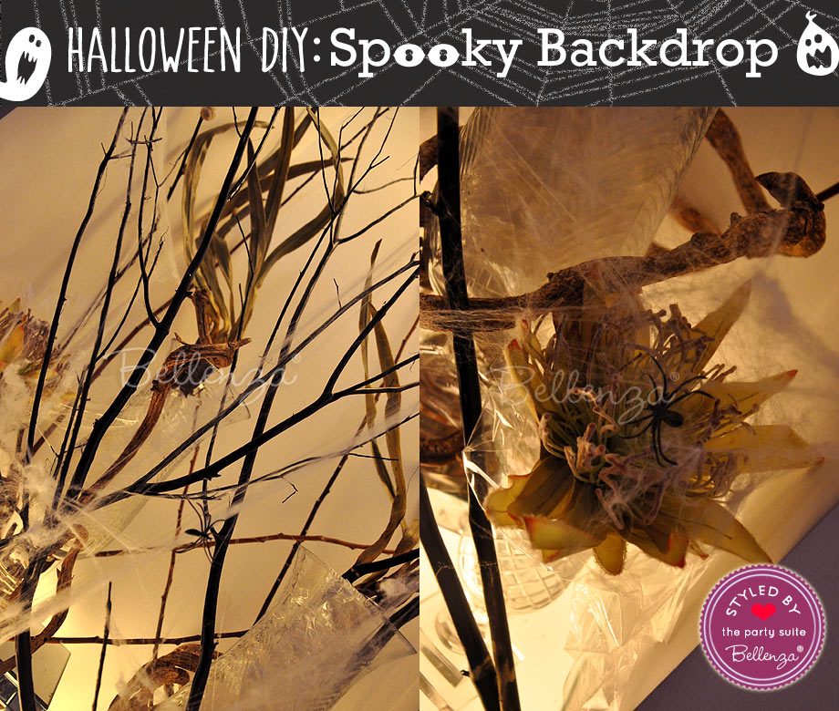 stretch the faux cobwebs randomly from branch to branch, and add the artificial spiders as though creepily crawling amidst the display!