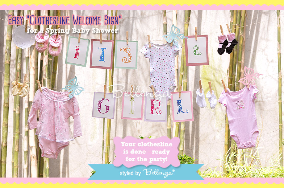 Spring Baby Shower  Clothesline Welcome Sign