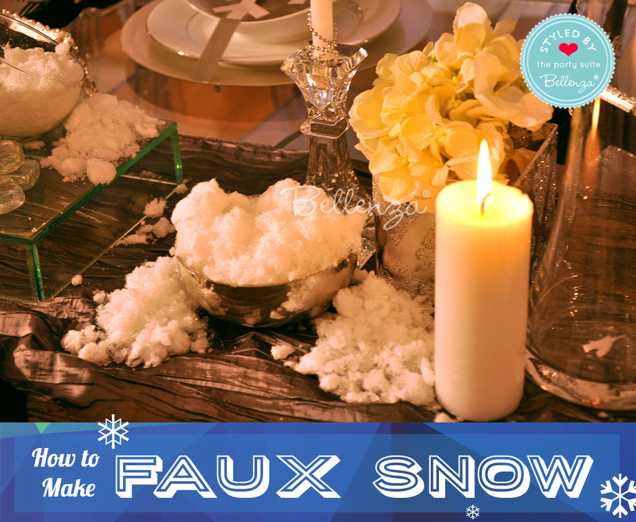 Winter Party Tablescape with Faux Snow DIy by Bellenza.