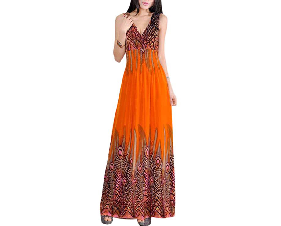 Women's Peacock Maxi Long Beach V Neck Dress