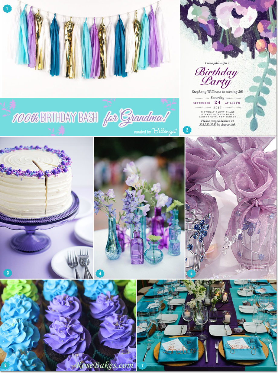 Grandma's 100th birthday bash! Think modern florals with a chic color palette of teal and purple with touches of lime green | as featured on the Party Suite at Bellenza
