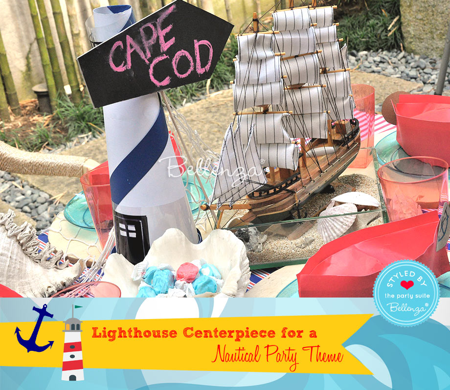 Nautical-themed Birthday Party: DIY Lighthouse Centerpiece from The Party Suite at Bellenza