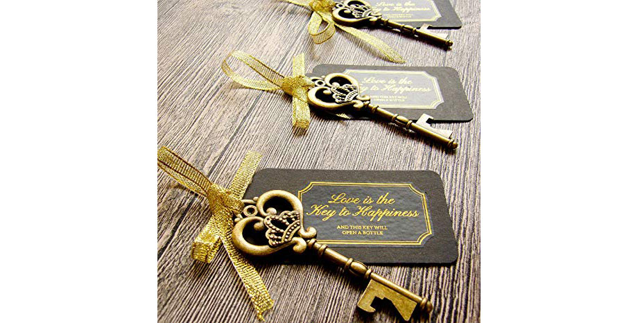 Vintage key favors for a 1920s party