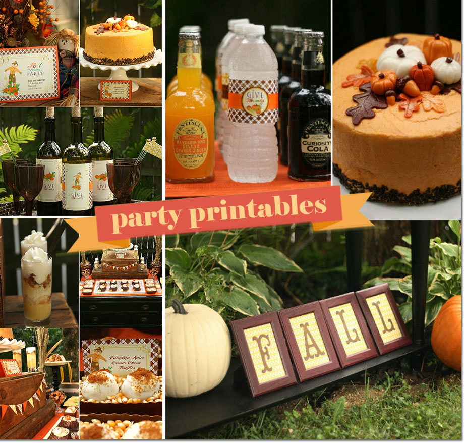 Fall Harvest Party printables for Thanksgiving